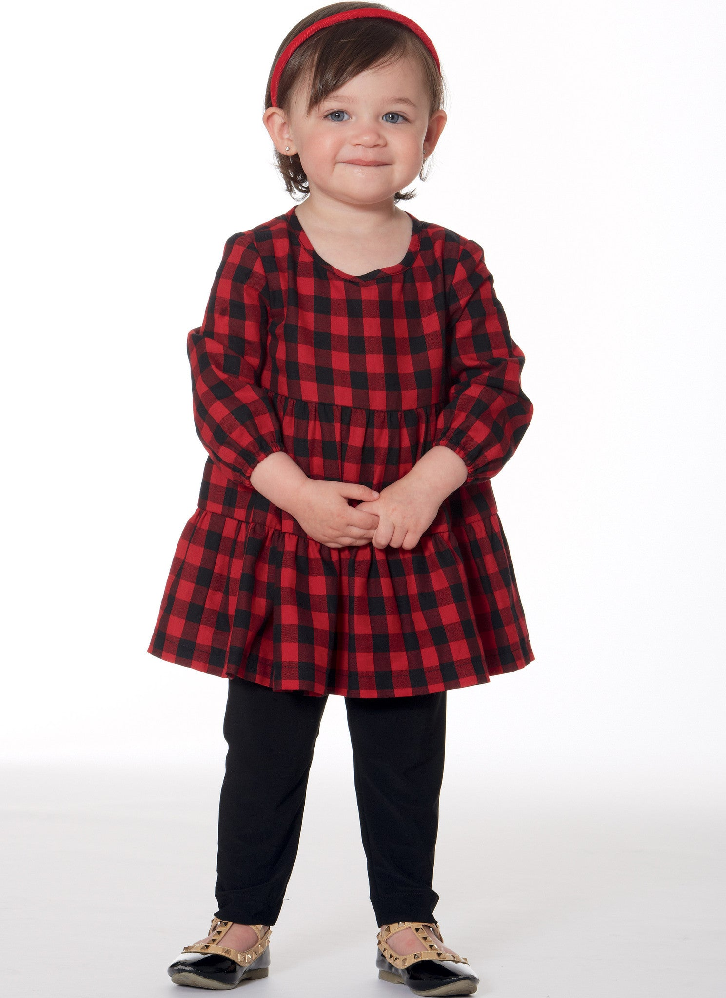 M7458 Toddlers' Gathered Tops, Dresses and Leggings