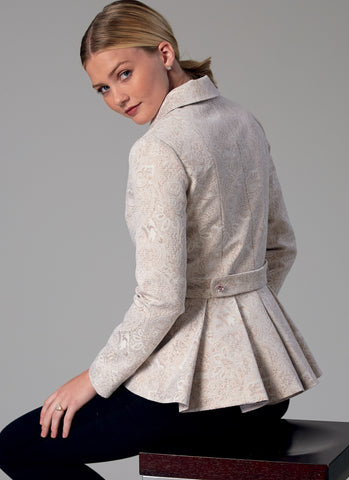 M7513 Misses' Notch-Collar, Peplum Jackets
