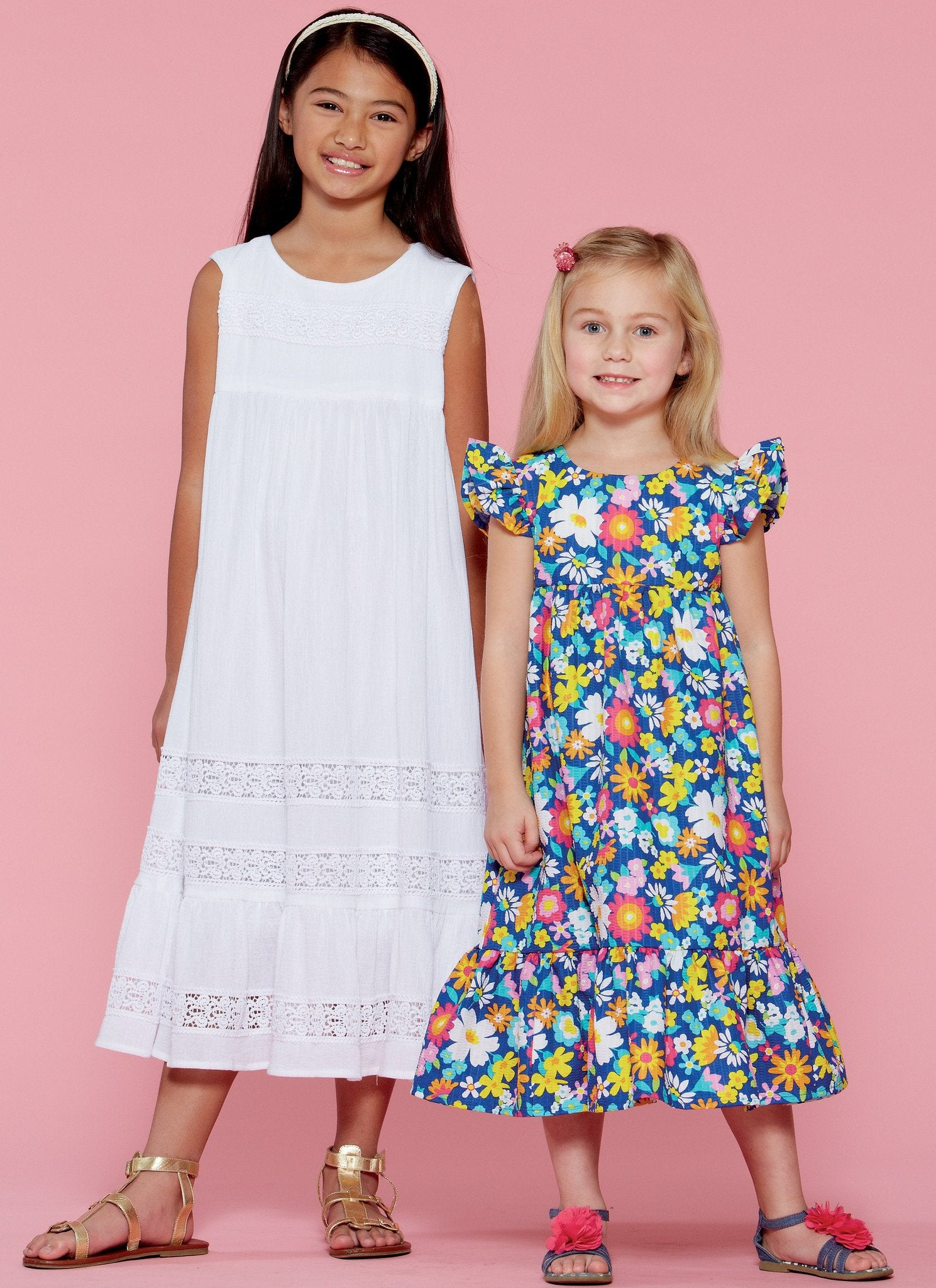 M7558 Girls' Sleeveless and Ruffle Sleeve Empire-Waist Dresses