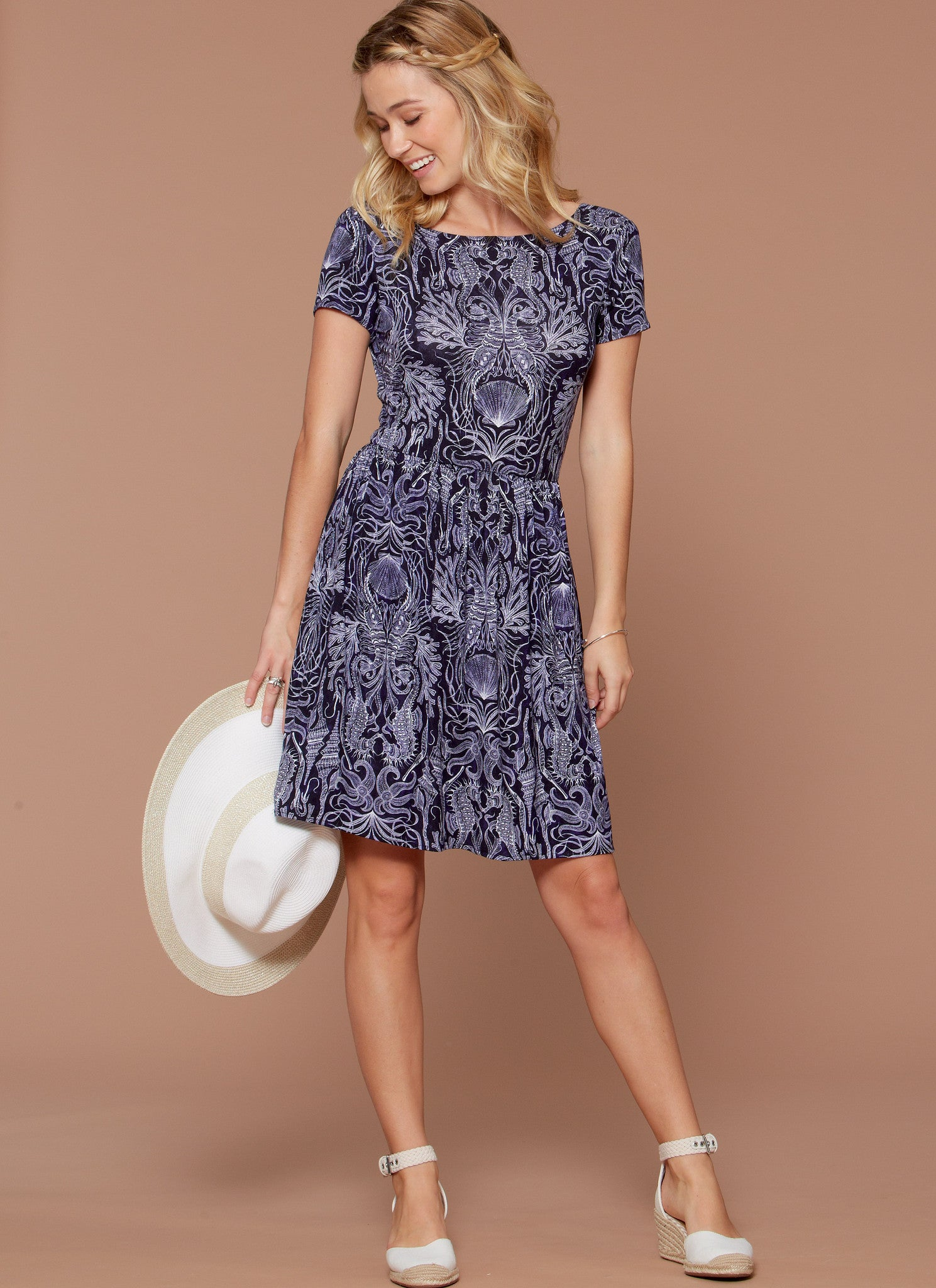 M7561 Misses' Pullover, Gathered-Waist Knit Dresses with Sleeve and Hem Options