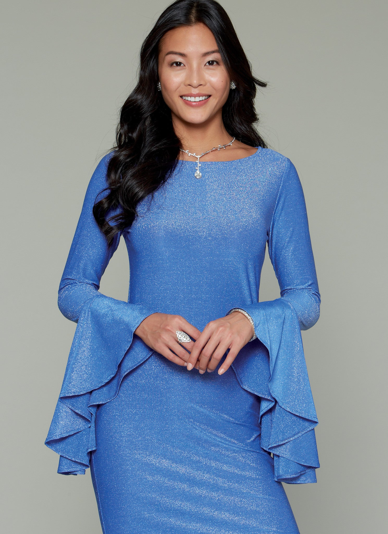 M7569 Misses' Column and Mermaid-Style Dresses with Bodice and Sleeve Variations