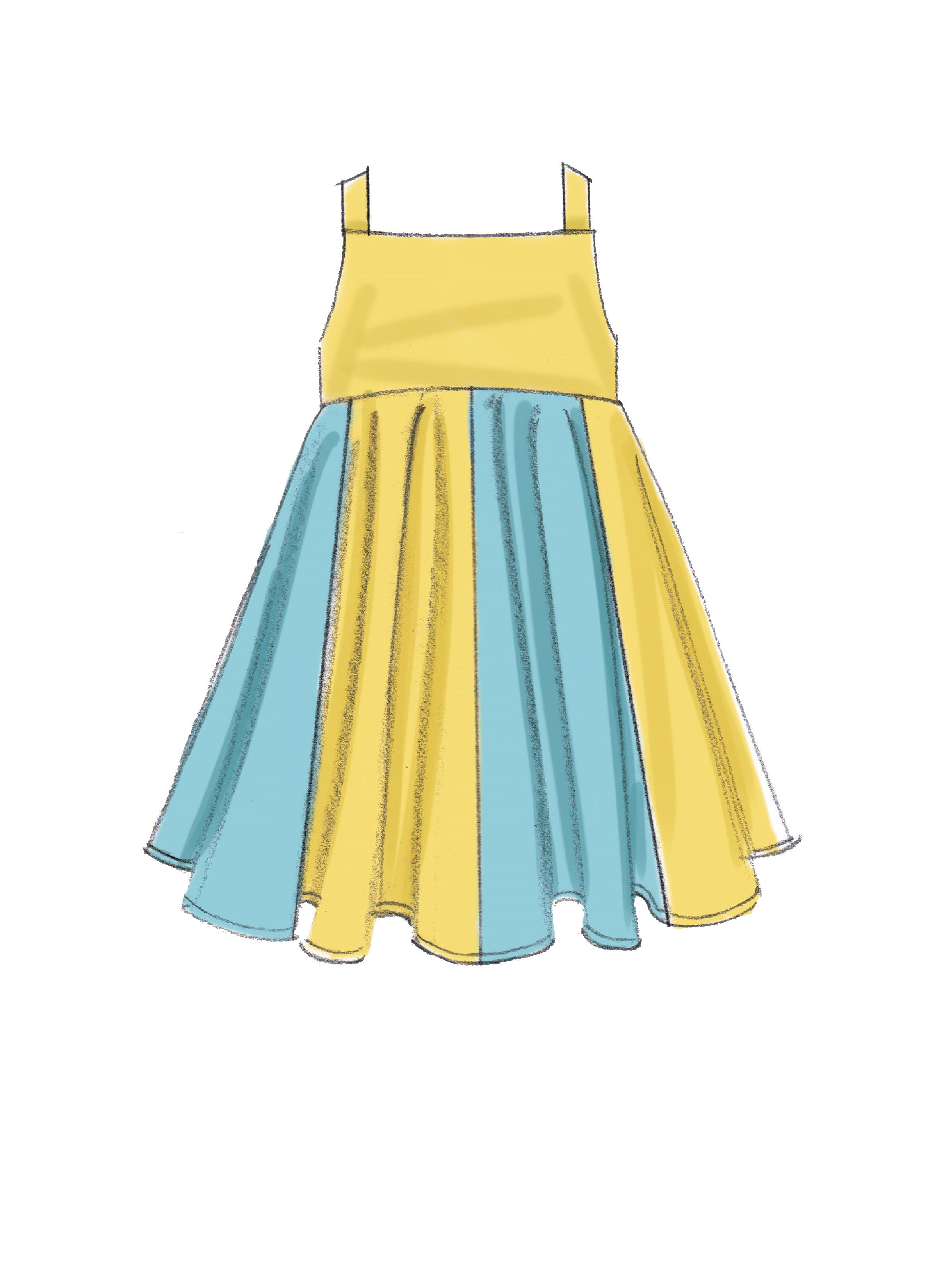 M7587 Girls Dresses with Square neck and skirt variations