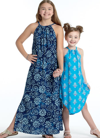 Girls long summery dresses sewing pattern 7589