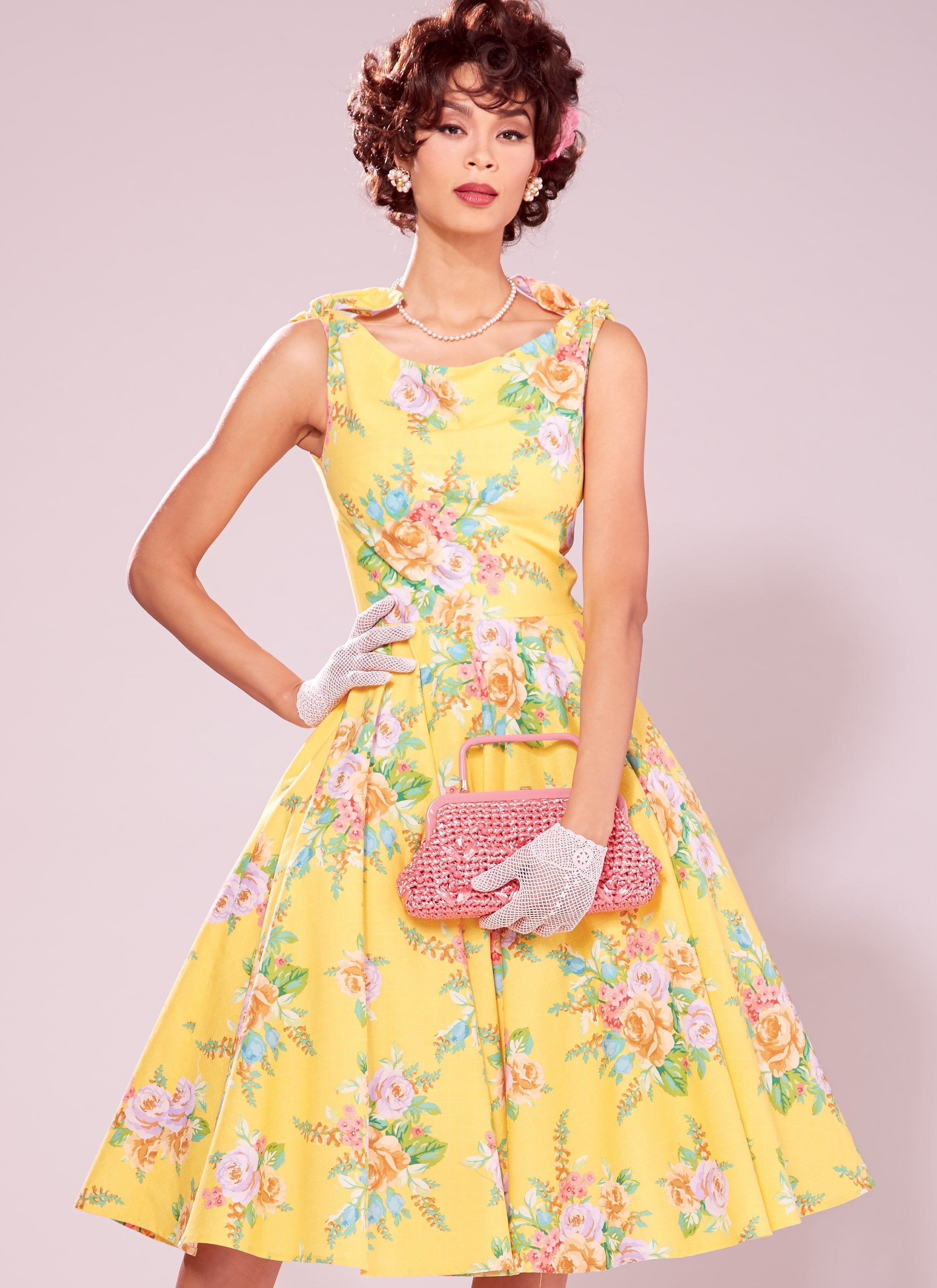 M7599 Lined Flared Dresses with Petticoat