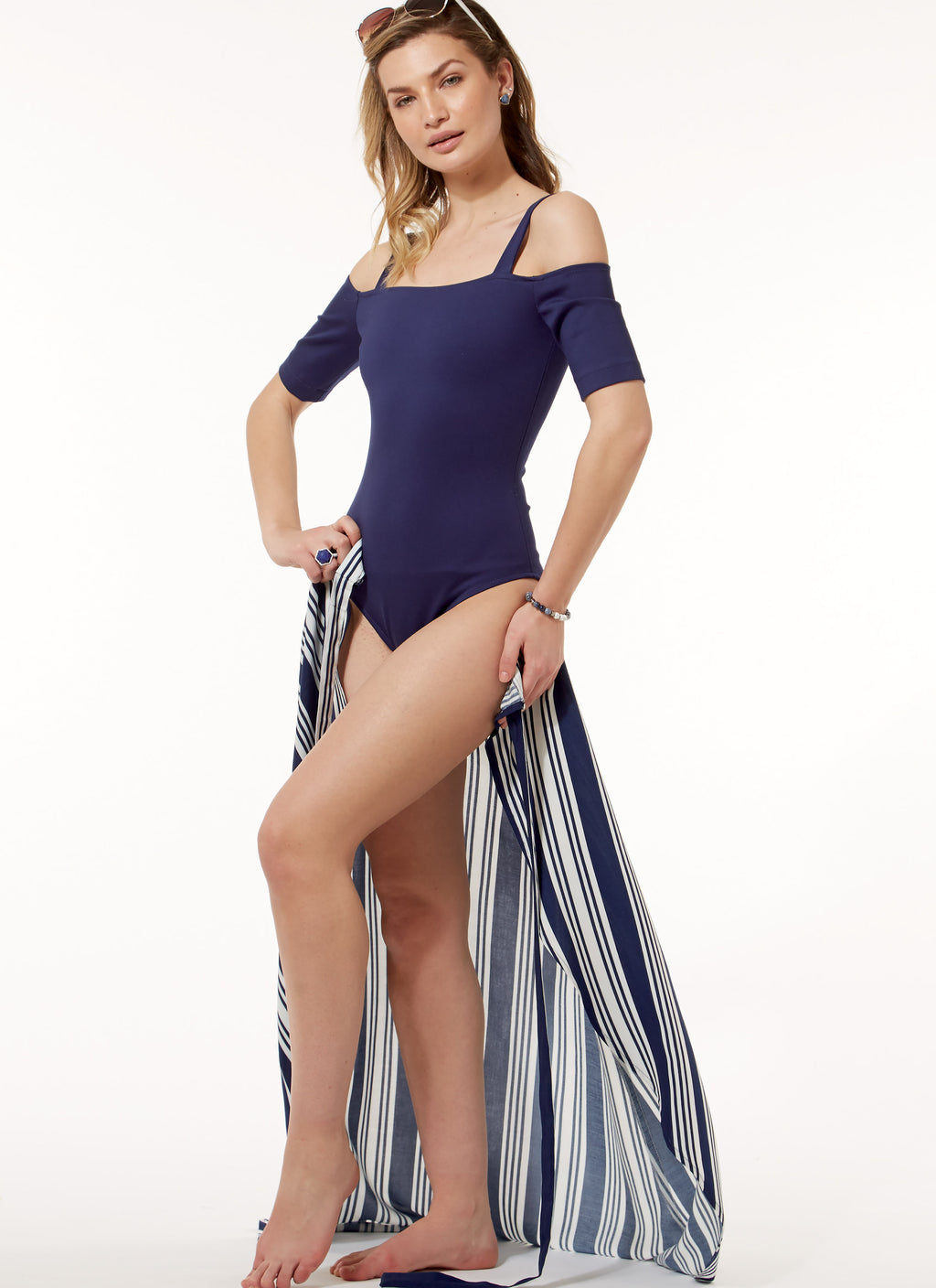 Off-the-Shoulder Bodysuits and Wrap Skirt - pattern 7606