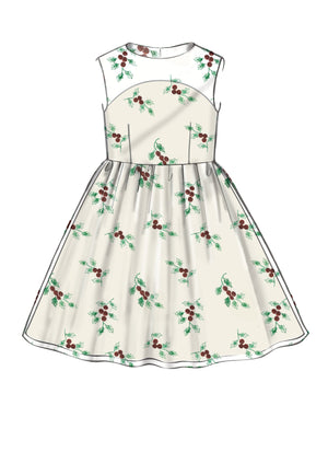 M7648 Gathered Dresses with Petticoat and Sash
