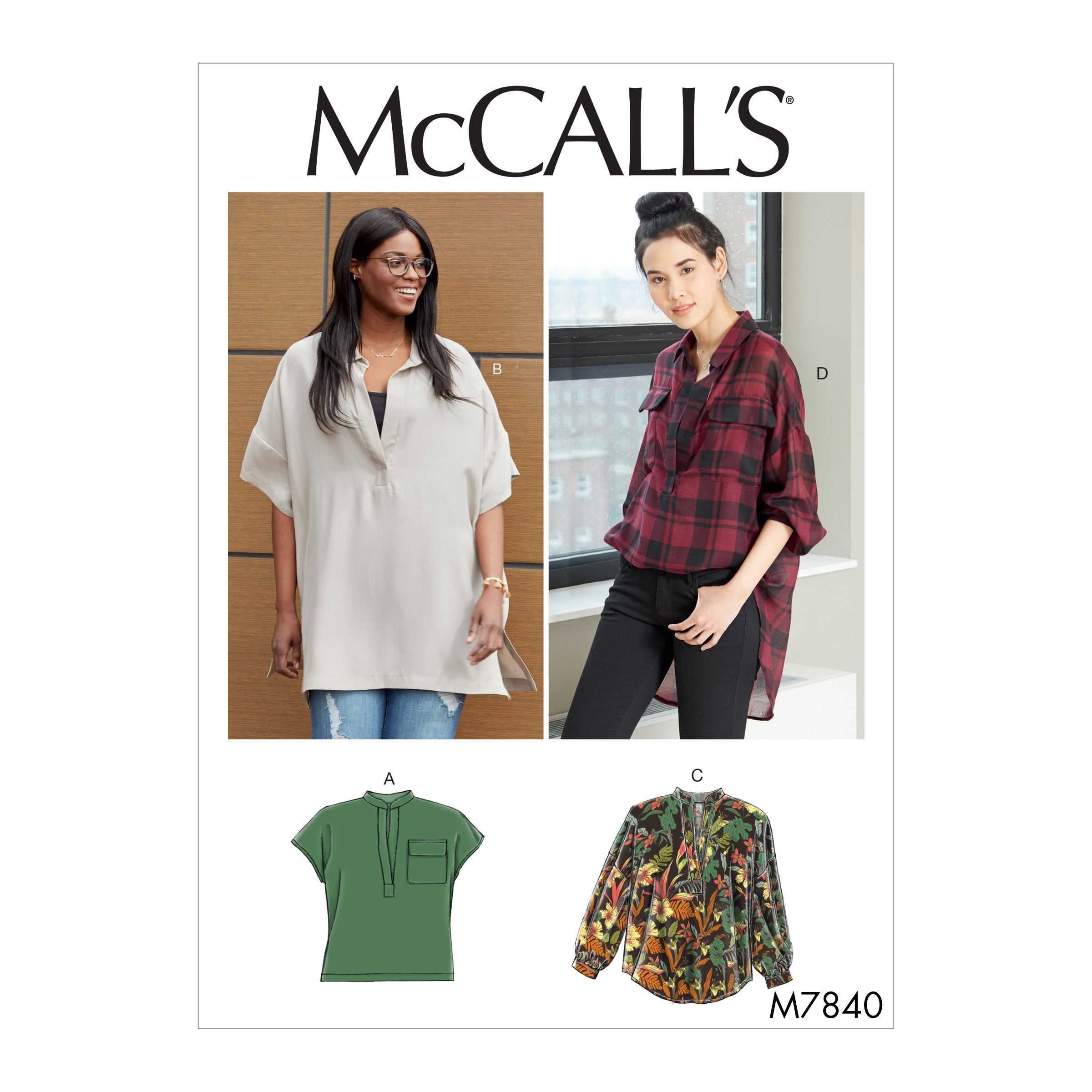M7840 Misses'/Women's Tops Sewing Pattern