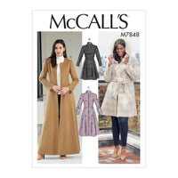 M7848 Misses'/Miss Petite and Women's Coats and Belt