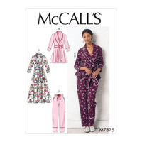 M7875 sewing pattern for pyjamas and Robe from Jaycotts Sewing Supplies