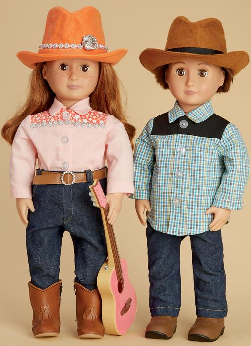 M7883 Doll Clothes, Hat and Belt Pattern