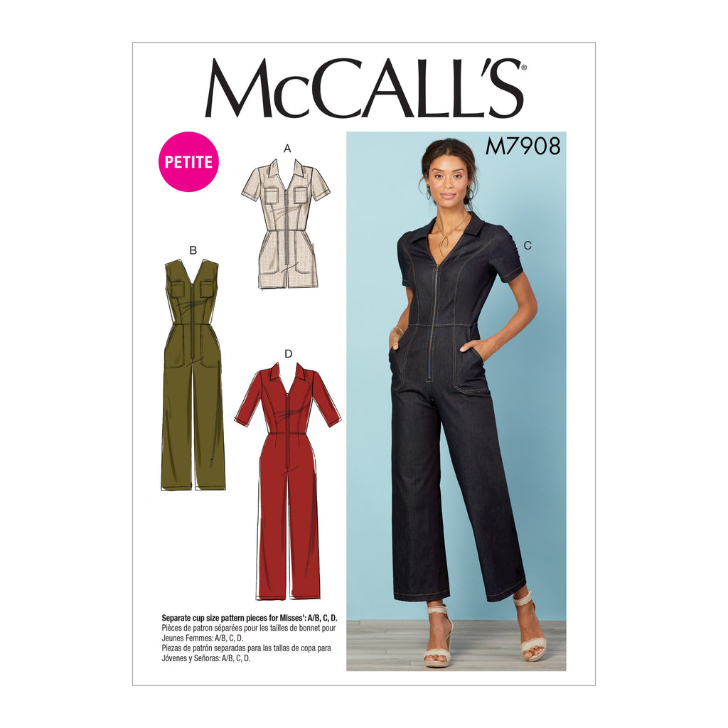 M7908 Misses'/Miss Petite Jumpsuits | A/B, C & D Cup Sizes