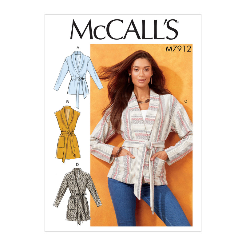 M7912 Misses' Jackets, Vest and Belt Pattern from Jaycotts Sewing Supplies