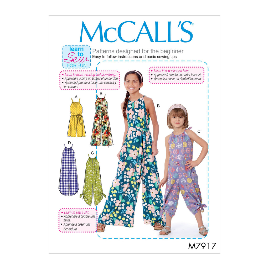 McCall's 7917 Girl's Romper, Jumpsuit and Belt