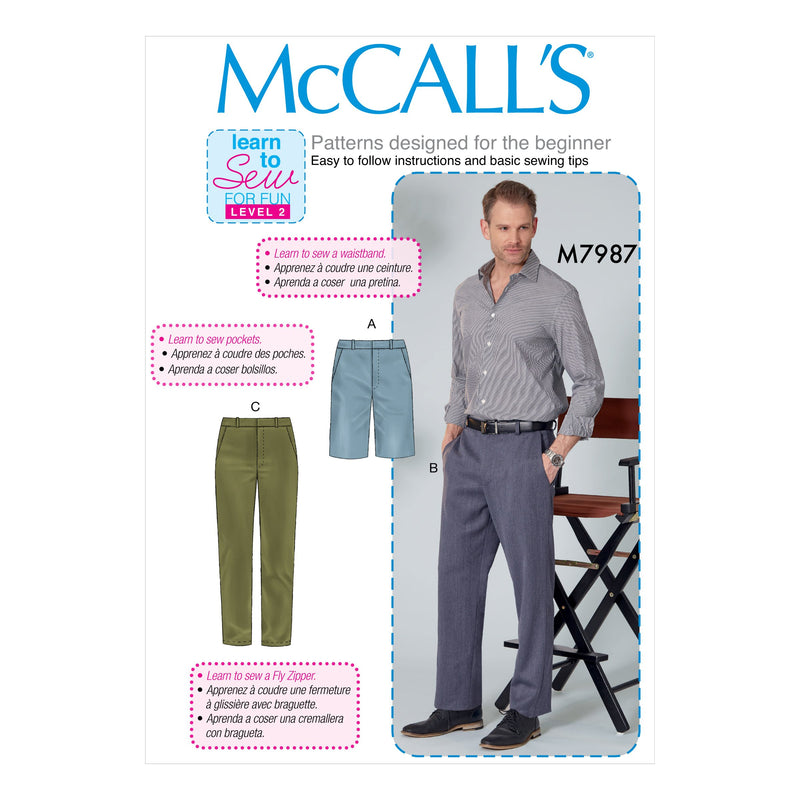 McCalls 7987 Men's Shorts and Trousers pattern from Jaycotts Sewing Supplies