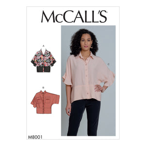 McCall's Sewing Pattern 8001 Blouses from Jaycotts Sewing Supplies
