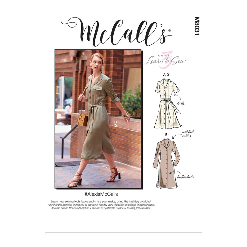McCall's pattern 8031 Misses' / Petite Dresses and Belt from Jaycotts Sewing Supplies