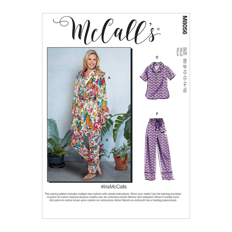 McCall's pattern 8056 Robe, Belt, Tops, Shorts and Pants