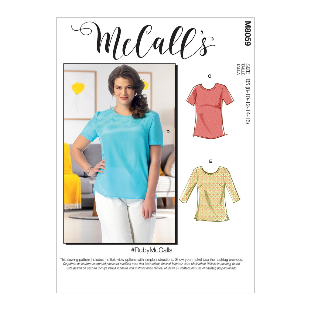 McCall's pattern 8059 Misses'/Women's Pullover Tops and Tunics from Jaycotts Sewing Supplies