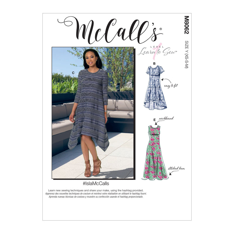 McCall's pattern 8062 Straight, Handkerchief, or High-Low Hem Dresses