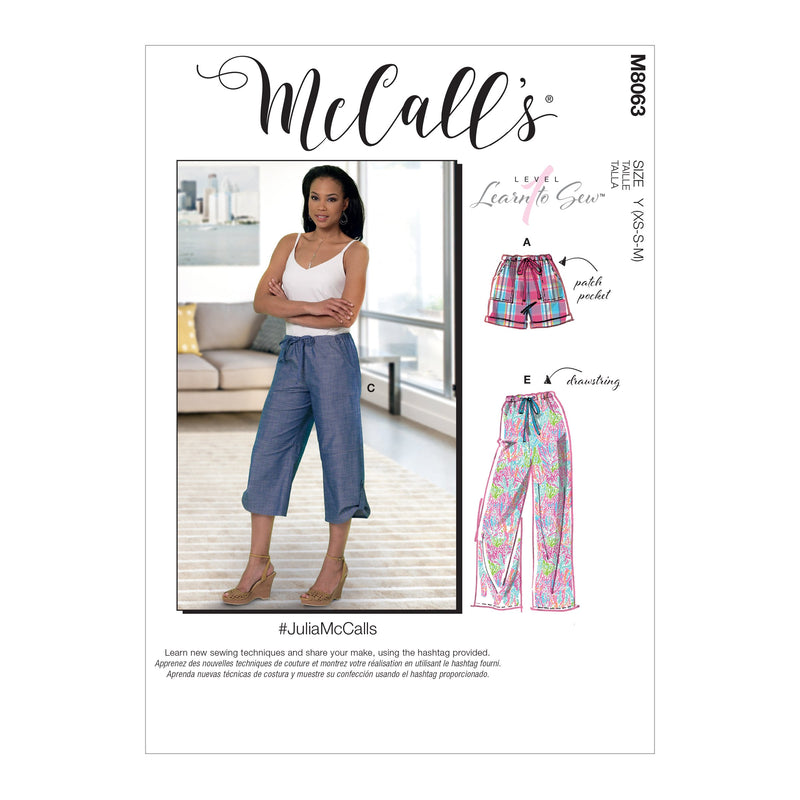 McCall's pattern 8063 Drawstring Shorts and Pants with Pockets from Jaycotts Sewing Supplies