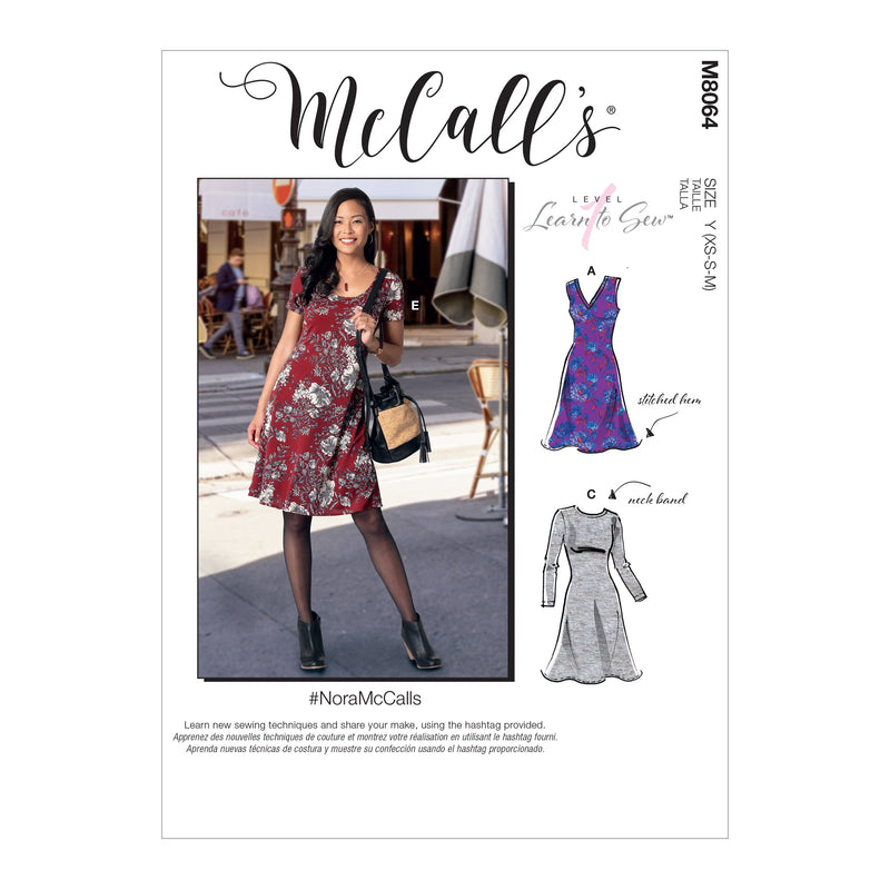 McCall's pattern 8064 Knit Dresses with V, Crew or Scoop Necklines