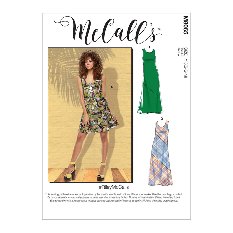 McCall's pattern 8065 Pullover Bias-Cut Tank and Short-Sleeve Dresses from Jaycotts Sewing Supplies
