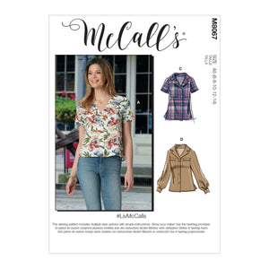 McCall's pattern 8067 Button-Front Tops with Options