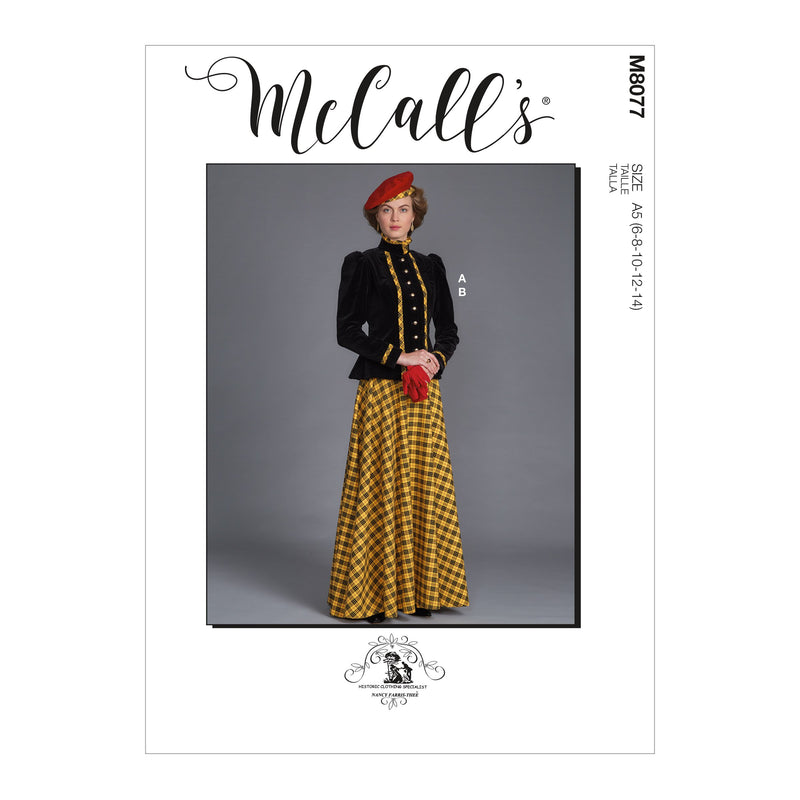 McCall's 8077 Historical Jacket and Skirt sewing pattern