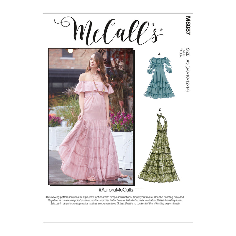 McCall's 8087 Dresses sewing pattern #AuroraMcCalls from Jaycotts Sewing Supplies
