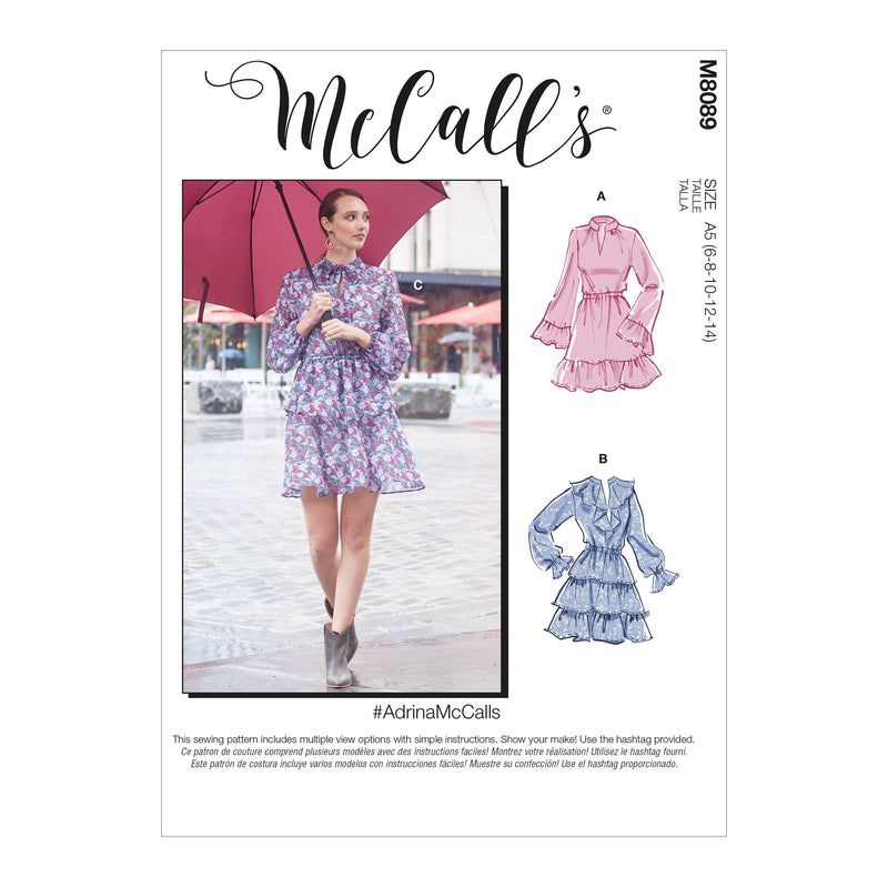 McCall's 8089 Dresses sewing pattern #AdrinaMcCalls from Jaycotts Sewing Supplies