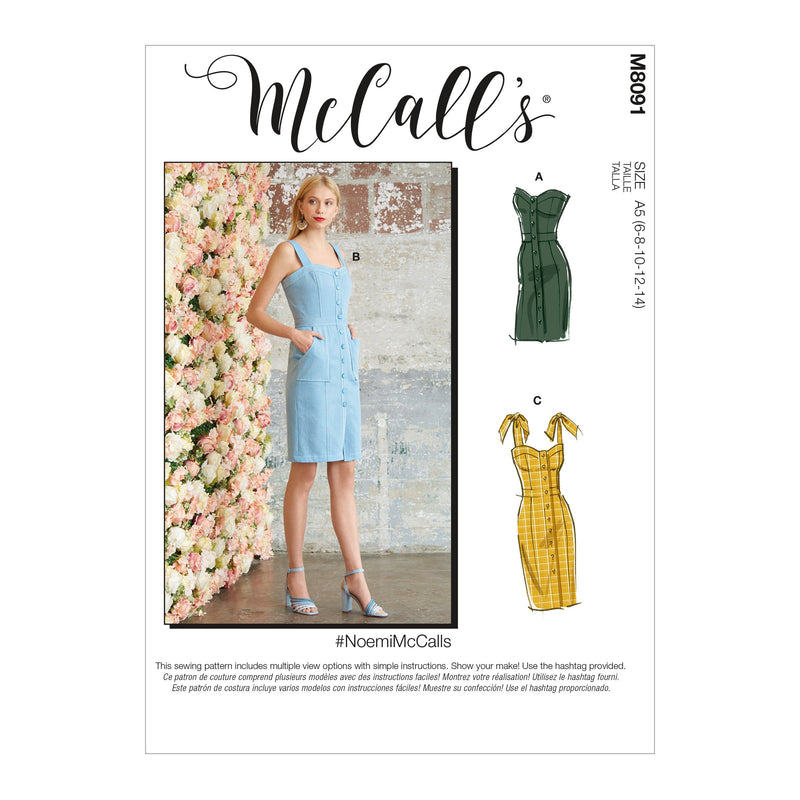 McCall's 8091 Dresses sewing pattern #NoemiMcCalls from Jaycotts Sewing Supplies