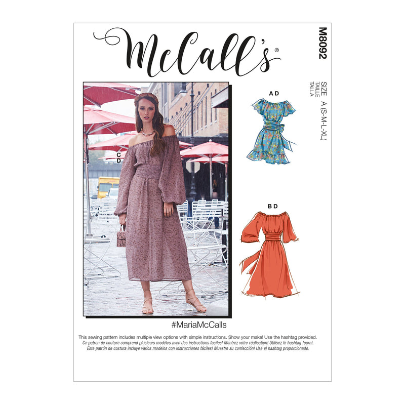 McCall's 8092 Dresses sewing pattern #MariaMcCalls