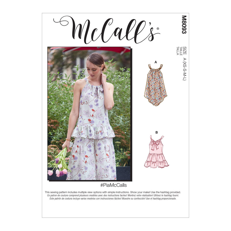 McCall's 8093 Tops sewing pattern #PiaMcCalls