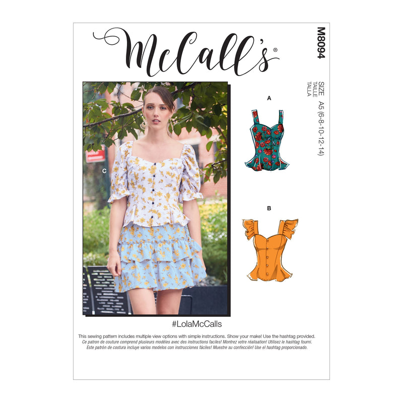 McCall's 8094 Tops sewing pattern #LolaMcCalls