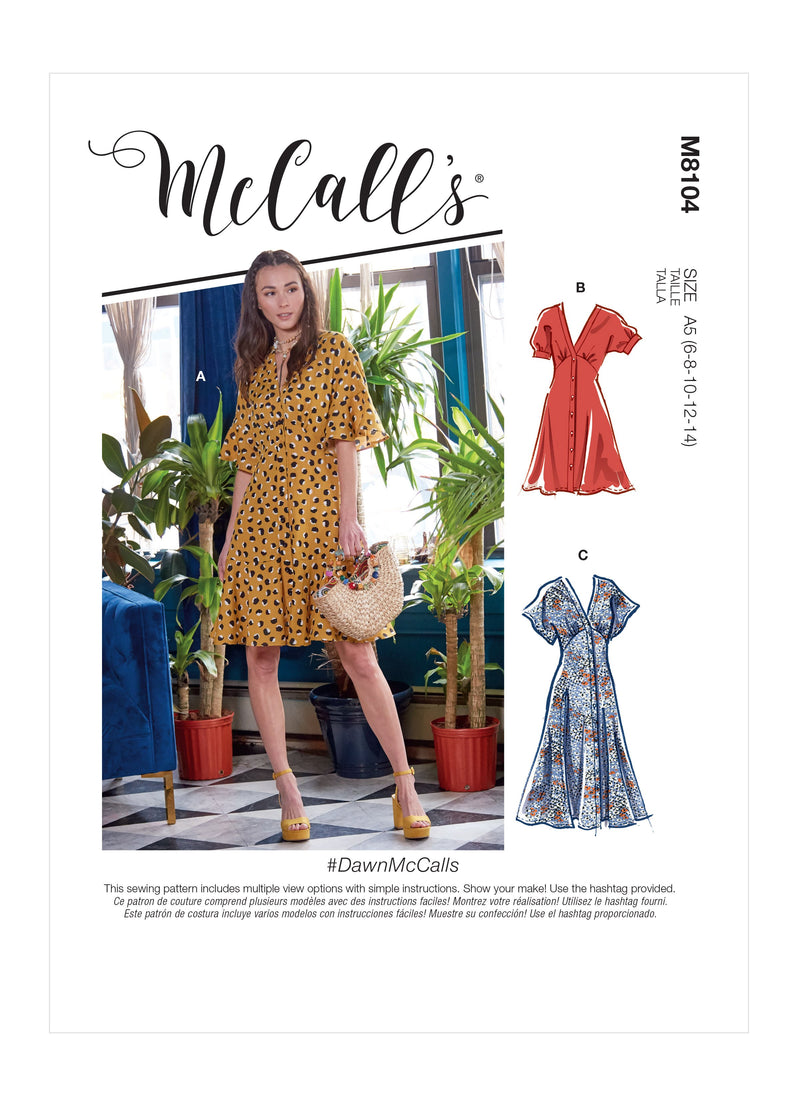 McCall's 8104 Dresses sewing pattern #DawnMcCalls from Jaycotts Sewing Supplies