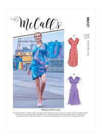 McCall's 8107 V-Neck Pull-Over Knit Dresses pattern #MaybelMcCalls