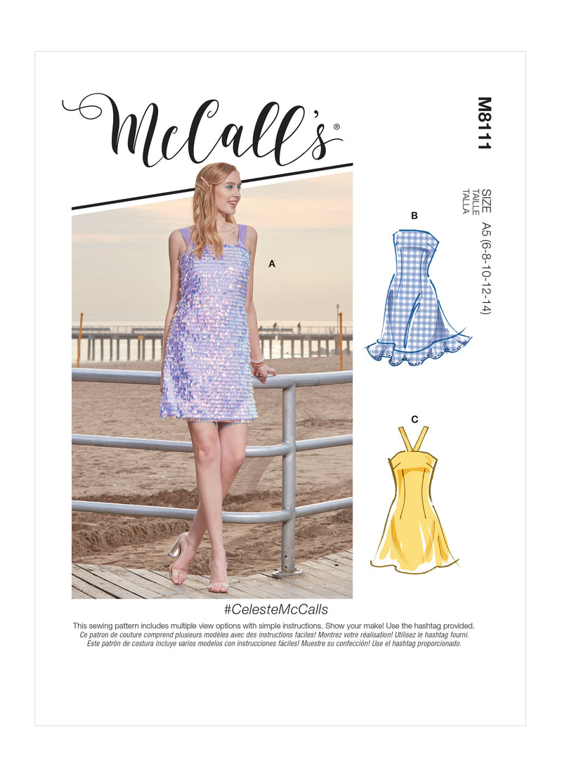 McCall's 8111 Dresses sewing pattern #CelesteMcCalls from Jaycotts Sewing Supplies
