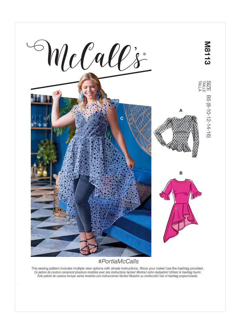 McCall's 8113 Misses' / Women's Tops pattern #PortiaMcCalls
