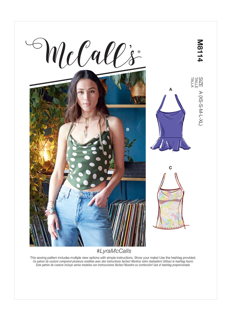 McCall's 8114 Tops sewing pattern #LyraMcCalls from Jaycotts Sewing Supplies