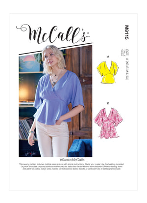 McCall's 8115 Tops sewing pattern #SierraMcCalls from Jaycotts Sewing Supplies
