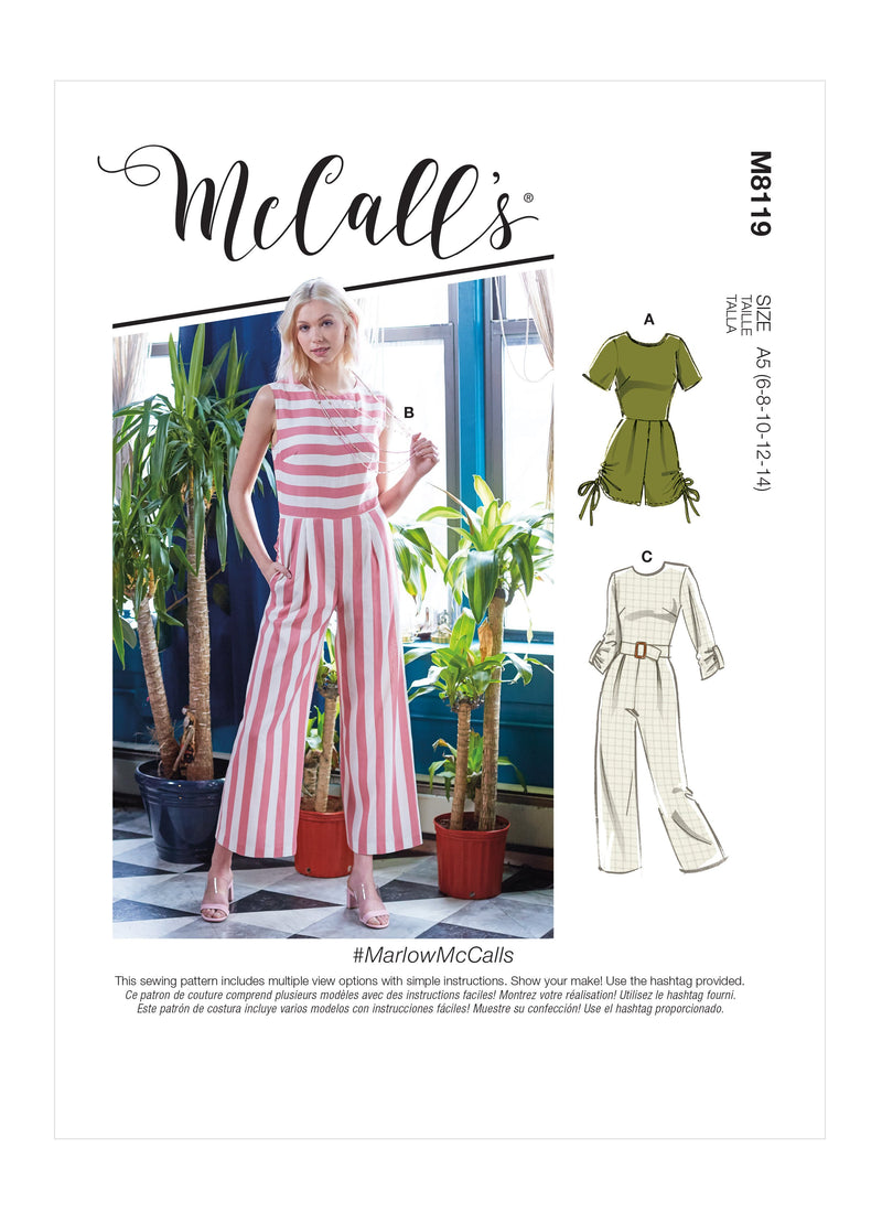 McCall's 8119 Romper and Jumpsuits sewing pattern #MarlowMcCalls from Jaycotts Sewing Supplies