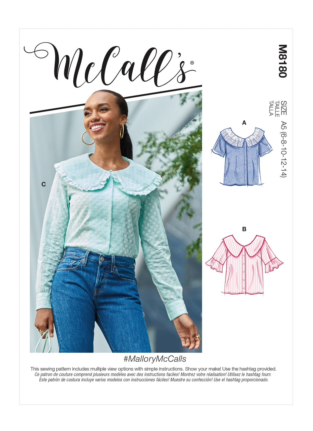McCalls Sewing Pattern 8180 Misses' Tops from Jaycotts Sewing Supplies