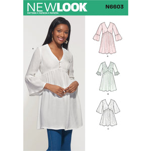 New Look Sewing Pattern 6603  Mini Dress, Tunic and Top