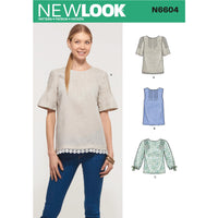 New Look Sewing Pattern 6604 Tops from Jaycotts Sewing Supplies