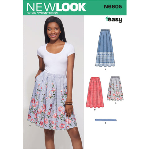 New Look Sewing Pattern 6605  Skirt with Neck Tie