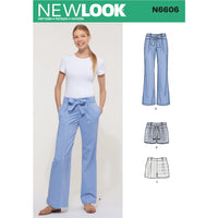 New Look Sewing Pattern 6606  Pant and Shorts from Jaycotts Sewing Supplies