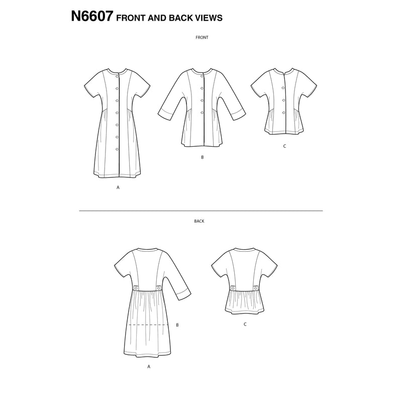 New Look Sewing Pattern 6607 Mini Dress , Tunic and Top