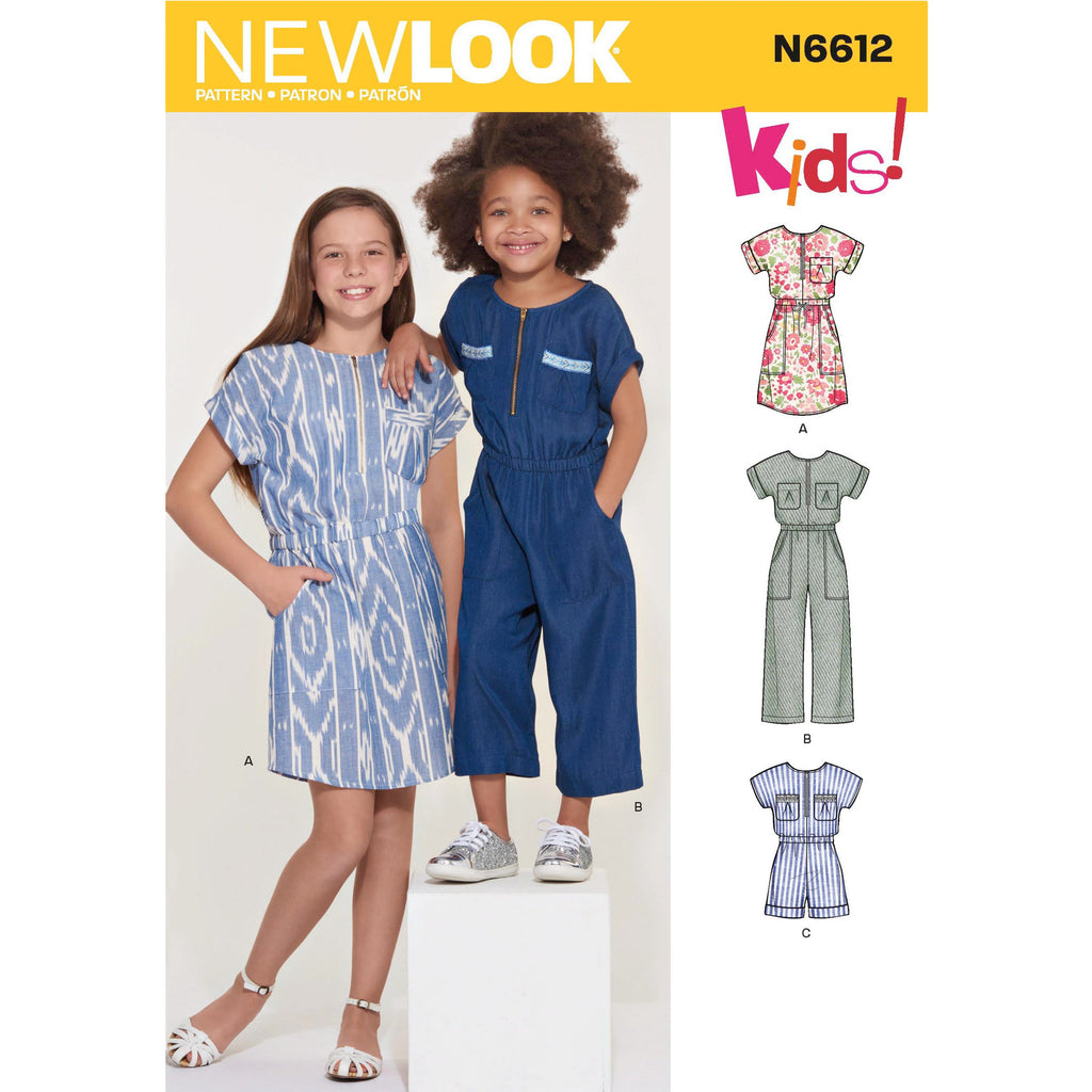 New Look Sewing Pattern 6612 Girls' Jumpsuit, Romper and Dress from Jaycotts Sewing Supplies