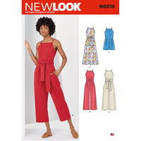 New Look Sewing Pattern 6616 Misses' Dress And Jumpsuit