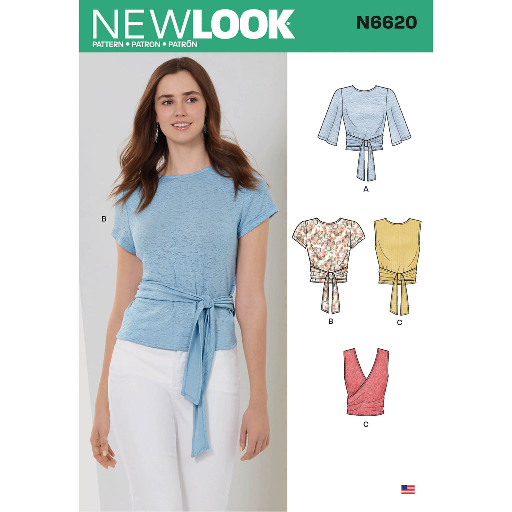 New Look Sewing Pattern 6620 Wrap Tops Pattern